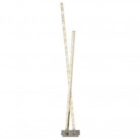 CLOVER 2LT LED COLUMN FLOOR LAMP CLEAR CRYSTAL TRIM CHROME