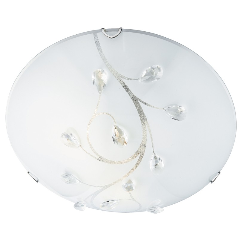 FLUSH 30cm ROUND GLASS WITH CRYSTALS