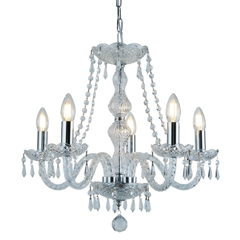 HALE - 5 LIGHT CHANDELIER CHROME CLEAR CRYSTAL TRIMMINGS