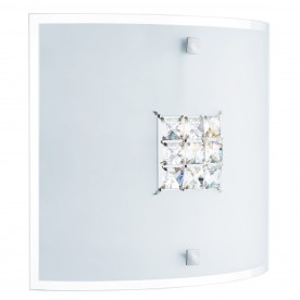 FLUSH - 2LT CEILING SQUARE FLUSH SANDED GLASS CLEAR CRYSTAL