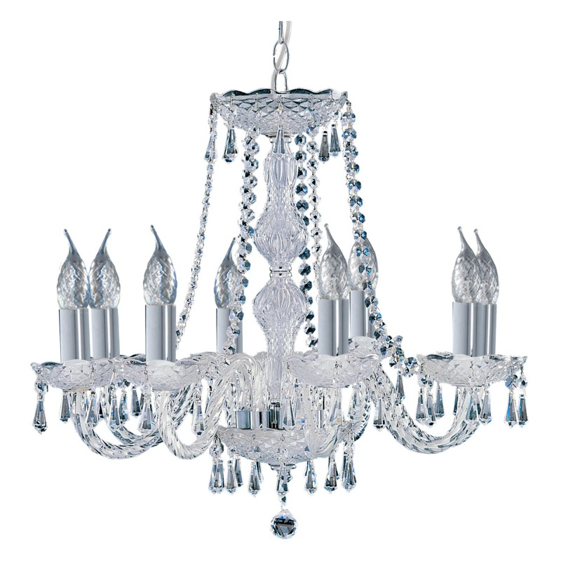 HALE - 8 LIGHT CHANDELIER CHROME CLEAR CRYSTAL TRIMMINGS