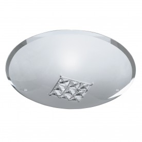 FLUSH - 1LT CEILING FLUSH (DIA 32cm) SANDED GLASS CLEAR CRYSTAL