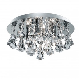 HANNA IP44 BATHROOM - 4LT CRYSTAL CEILING FLUSH CLEAR PYRAMID CRYSTAL DROPS CHROME