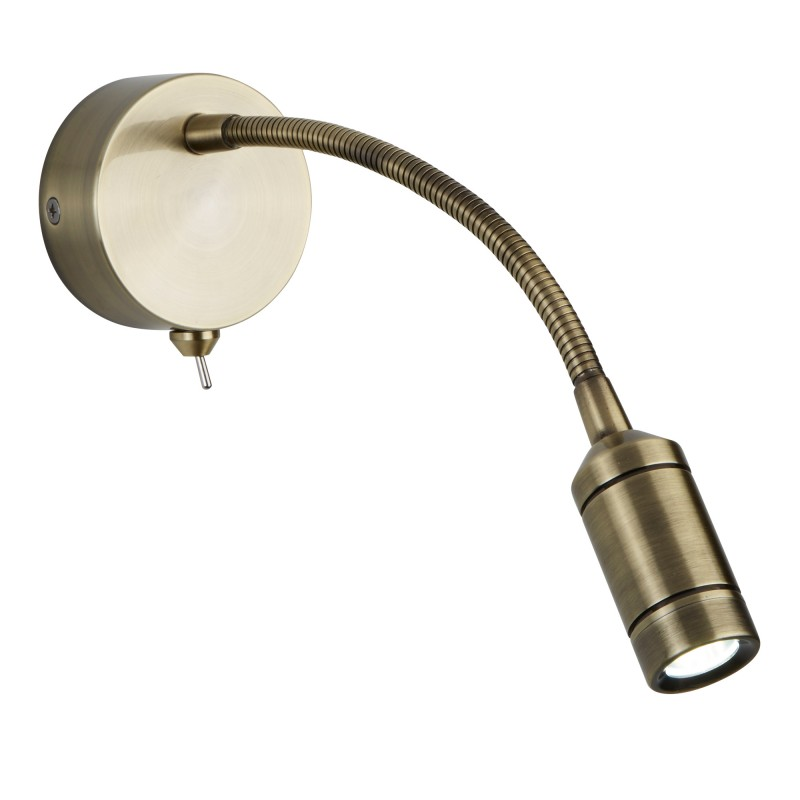 WALL LIGHT LED - FLEXI ARM - ANTIQUE BRASS