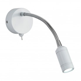 WALL LIGHT LED - WHITE HEAD & BODY - CHROME FLEXI ARM