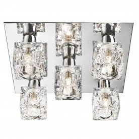 ICE CUBE - 5LT CEILING FLUSH CHROME CLEAR ICE CUBE GLASS