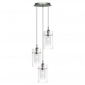 DUO I - SS DOUBLE GLASS 3LT PENDANT