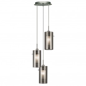 DUO 2 - 3LT CEILING MULTI-DROP WITH SMOKEY OUTER/FROSTED INNER GLASS SHADES