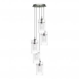 DUO I - SS DOUBLE GLS 5LT PENDANT