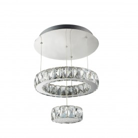 CLOVER LED 2 TIER CEILING FLUSH CHROME CLEAR GLASS