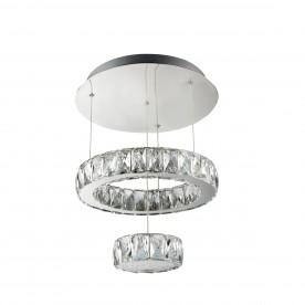 CLOVER LED 2 TIER CEILING FLUSH CHROME CLEAR GLASS