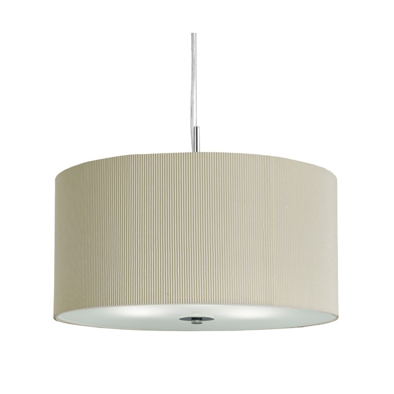 DRUM PLEAT PENDANT - 3LT PLEATED SHADE PENDANT CREAM WITH FROSTED GLASS DIFFUSER DIA 40CM
