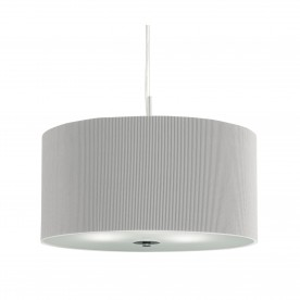 DRUM PLEAT PENDANT - 3LT PLEATED SHADE PENDANT SILVER WITH FROSTED GLASS DIFFUSER DIA 40