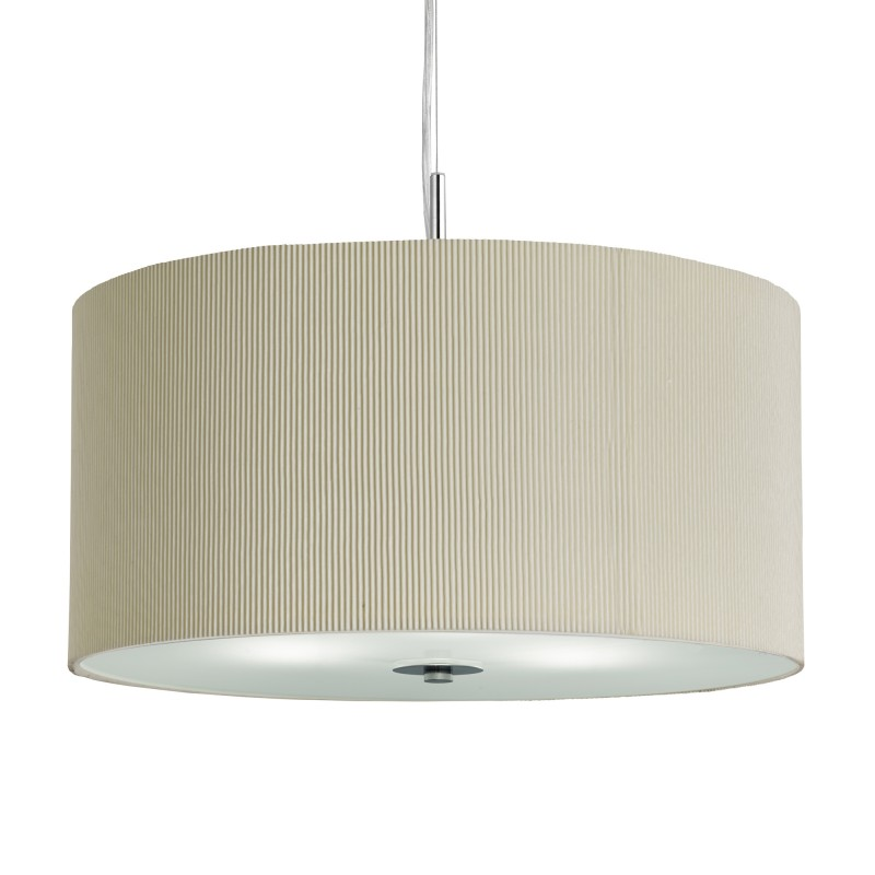 DRUM PLEAT PENDANT - 3LT PLEATED SHADE PENDANT CREAM WITH FROSTED GLASS DIFFUSER DIA 60CM