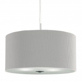 DRUM PLEAT PENDANT - 3LT PLEATED SHADE PENDANT SILVER WITH FROSTED GLASS DIFFUSER DIA 60