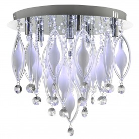 SPINDLE - REMOTE CONTROLLED  6LT FLUSH CEILING CHROME WITH CLEAR/WHITE GLASS DECO