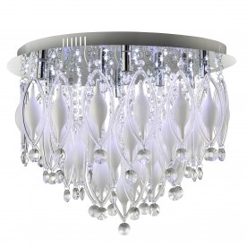 SPINDLE - REMOTE CONTROLLED  9LT FLUSH CEILING CHROME WITH CLEAR/WHITE GLASS DECO