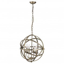 ORBIT 4LT CAGE FRAME ORB PENDANT ANTIQUE BRASS