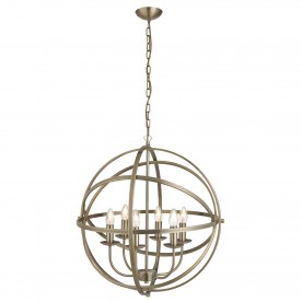 ORBIT 6LT CAGE FRAME ORB PENDANT ANTIQUE BRASS