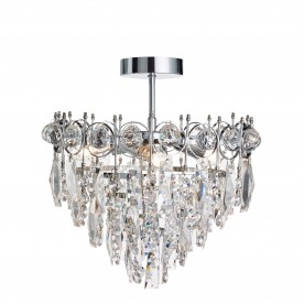 CATHERINE - 3LT TIER SEMI FLUSH CHROME CLEAR CRYSTAL