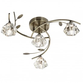 SIERRA -  4LT SEMI-FLUSH ANTIQUE BRASS CLEAR GLASS