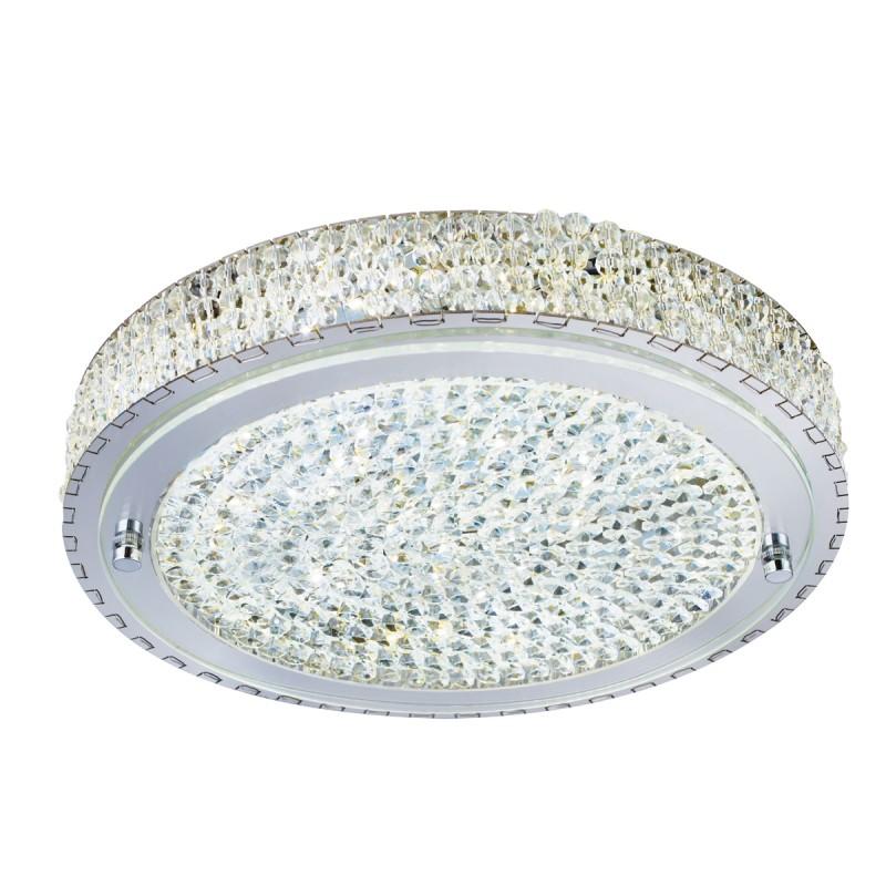 FLUSH LED CEILING FLUSH (Dia 30cm) CHROME CLEAR CRYSTAL CENTRE DECO