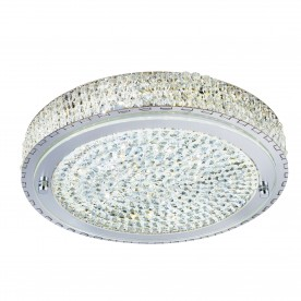 FLUSH  LED CEILING FLUSH (Dia 40cm) CHROME CLEAR CRYSTAL CENTRE DECO