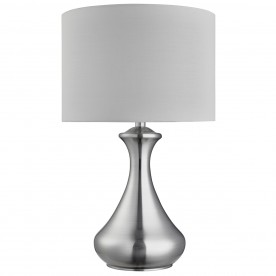 TOUCH LAMP - SATIN SILVER  WHITE SHADE