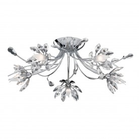 HIBISCUS - 5LT FLUSH CEILING CHROME  CLEAR GLASS