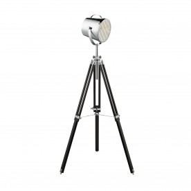 STUDIO ADJUSTABLE STAGE LIGHT- FLOOR LAMP -  CHROME SHADE/BLACK BASE