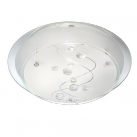 FLUSH 25CM ROUND 1LT- CLEAR BEADS ON GLASS