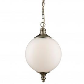 ATOM - 1LT PENDANT ANTIQUE BRASS OPAL GLASS