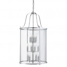 VICTORIAN LANTERN 12LT CHROME CLEAR GLASS PANELS