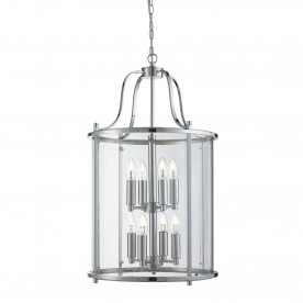 VICTORIAN LANTERN 8LT CHROME CLEAR GLASS