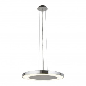LEXI LED DISC CEILING PENDANT (50cm DIA) CHROME CRUSHED ICE EFFECT DECO