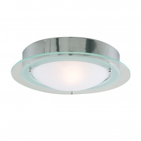BATHROOM IP44  1LT - CHROME FLUSH CLEAR/OPAL GLASS
