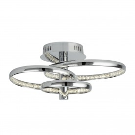 RINGS 3 LED CEILING FLUSH CHROME CLEAR CRYSTAL