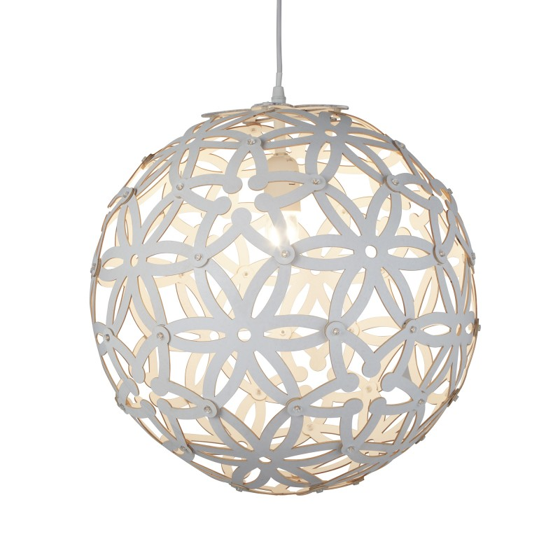 AVALON 1LT LARGE WOOD PENDANT (50cm DIA) WHITE