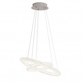 CIRCLE LED 2 RING CEILING PENDANT CHROME CLEAR CRYSTAL