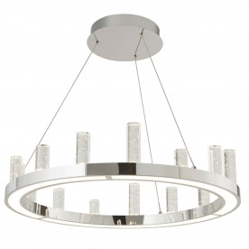 MODERN LED ROUND CEILING CLEAR BUBBLE GLASS COLUMNS CHROME