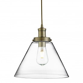 PYRAMID 1LT PENDANT ANTIQUE BRASS CLEAR PYRAMID GLASS SHADE