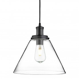 PYRAMID 1LT PENDANT MATT BLACK CLEAR PYRAMID GLASS SHADE