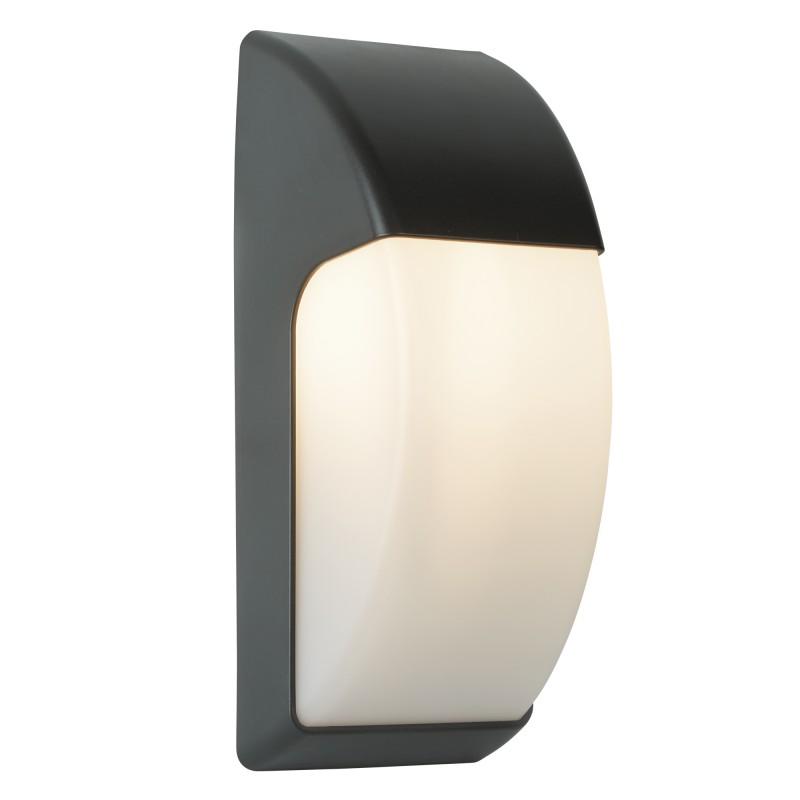 OUTDOOR  1LT CRESCENT WALL LIGHT (32CM) DARK GREY/OPAL