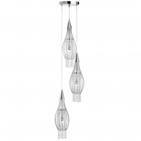 ROCKET - 3LT CAGE FRAME MULTI-DROP CHROME WITH CLEAR CRYSTAL BUTTONS DROPS DECO