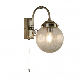 BELVUE 1LT BATHROOM IP44 WALL LIGHT CLEAR GLOBE SHADE ANTIQUE BRASS