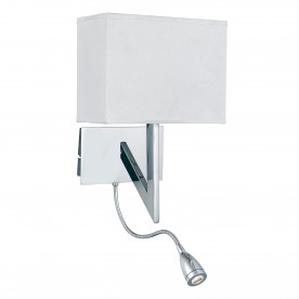 WALL - 2LT W/BRACKET LED FLEXI ARM CHROME WHITE SHADE