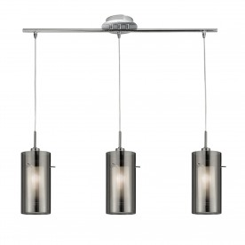 DUO 2 - 3LT CEILING BAR WITH SMOKEY OUTER/FROSTED INNER GLASS SHADES