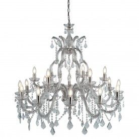 MARIE THERESE - 18LT CHANDELIER CHROME CLEAR CRYSTAL