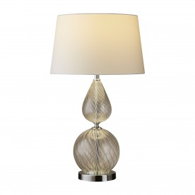 DERBY TABLE LAMP - CLEAR RIBBED GLASS BASE WITH WHITE TAPERED SHADE