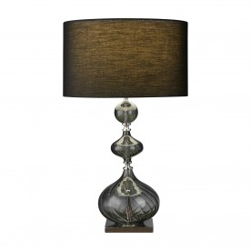 EDITION TABLE LAMP - SMOKEY RIBBED GLASS BASE WITH BLACK DRUM SHADE